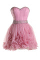 Pink Sweetheart Open Back Mini Homecoming Dresses Cocktail Dresses With Rhinestone