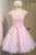 Pink A Line Round Neck Short Sleeves Lace Homecoming Dresses Cocktail Dresses - NICEOO