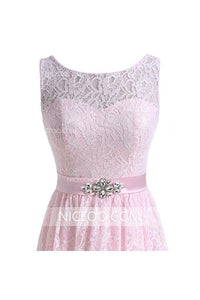 Pink Round Neck V Back Lace Homecoming Dresses Cheap Mini Cocktail Dresses