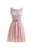 Pink Round Neck V Back Lace Homecoming Dresses Cheap Mini Cocktail Dresses - NICEOO