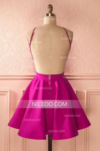 Rose Red Round Neck Open Back Mini Satin Homecoming Dresses Cocktail Dresses - NICEOO