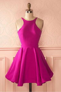 Rose Red Round Neck Open Back Mini Satin Homecoming Dresses Cocktail Dresses