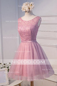 Pink Round Neck Sleeveless Cut Out Lace Homecoming Dresses Cocktail Dresses
