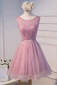 Pink Round Neck Sleeveless Cut Out Lace Homecoming Dresses Cocktail Dresses - NICEOO