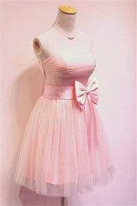 Pink A Line Strapless Tulle Homecoming Dresses Cocktail Dresses With Bow - NICEOO
