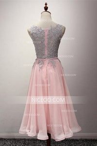 Round Neck Sleeveless Knee Length Homecoming Dresses Cheap Cocktail Dresses - NICEOO