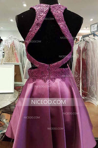 Purple Round Neck Sleeveless Open Back Homecoming Dresses Cheap Cocktail Dresses - NICEOO