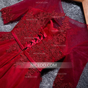 Red Half Sleeves Round Neck Mini Homecoming Dresses Affordable Cocktail Dresses - NICEOO