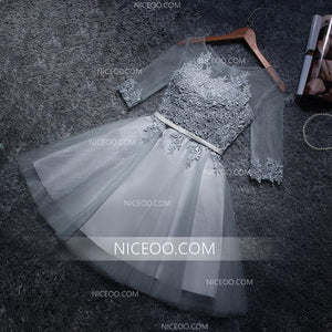 Gray A Line Half Sleeves Mini Lace Homecoming Dresses Cheap Cocktail Dresses