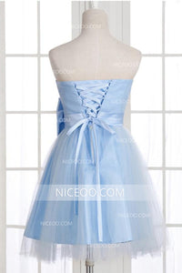 Simple Blue Strapless Knee Length Homecoming Dresses Affordable Cocktail Dresses With Bow