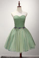 Green A Line Strapless Satin Short Homecoming Dresses Cocktail Dresses With Beading