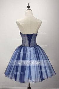 A Line Strapless Knee Length Tulle Homecoming Dresses Cocktail Dresses With Appliques - NICEOO