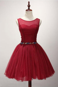 Red Round Neck Sleeveless Backless Short Homecoming Dresses Affordable Cocktail Dresses With Beading - NICEOO