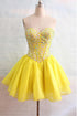 Yellow Strapless A Line Chiffon Homecoming Dresses Mini Cocktail Dresses With Beading