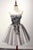 Gray A Line Strapless Knee Length Homecoming Dresses Best Cocktail Dresses With Appliques
