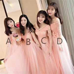 Cute Blush Pink Four Styles A Line Empire Waist Chiffon Bridesmaid Dresses Prom Dresses