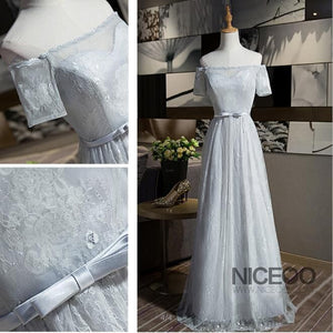 Elegant Gray Four Styles A Line Empire Waist Long Chiffon Bridesmaid Dresses Prom Dresses