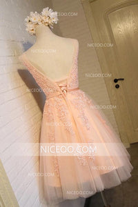 A Line Sleeveless V Neck Backless Homecoming Dresses Mini Cocktail Dresses - NICEOO