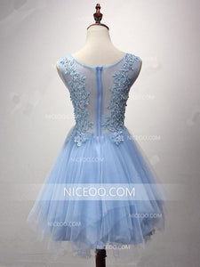 Blue Round Neck Sleeveless Tulle Homecoming Dresses Short Cocktail Dresses - NICEOO