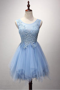 Blue Round Neck Sleeveless Tulle Homecoming Dresses Short Cocktail Dresses