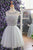 A Line Gray Round Neck Tulle Homecoming Dresses Short Cocktail Dresses With Appliques - NICEOO