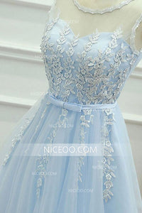 Blue Sweetheart Sleeveless Knee Length Homecoming Dresses Cocktail Dresses With Appliques - NICEOO