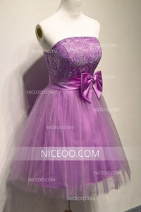 Purple A Line Strapless Homecoming Dresses Best Cocktail Dresses With Bow - NICEOO