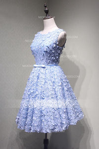 Blue A Line Round Neck Sleeveless Homecoming Dresses Lace Cocktail Dresses - NICEOO