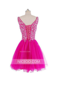 Rose Red Sweetheart Strap Organza Homecoming Dresses Mini Cocktail Dresses With Rhinestone - NICEOO