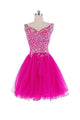 Rose Red Sweetheart Strap Organza Homecoming Dresses Mini Cocktail Dresses With Rhinestone