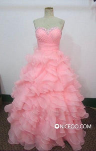 Glamorous Pink Sweetheart Empire Waist Ruffle Organza Prom Dresses Evening Dresses