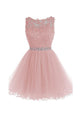Round Neck Sleeveless A Line Homecoming Dresses Mini Cocktail Dresses - NICEOO