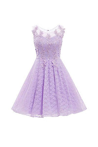 A Line Round Neck Sleeveless Lace Homecoming Dresses Short Cocktail Dresses - NICEOO