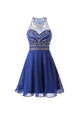 Blue Round Neck Open Back Sleeveless Homecoming Dresses Mini Cocktail Dresses With Rhinestone - NICEOO