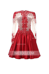 Red Round Neck Long Sleeves Lace Homecoming Dresses Short Cocktail Dresses