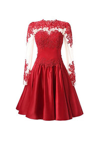 Red Round Neck Long Sleeves Lace Homecoming Dresses Short Cocktail Dresses - NICEOO