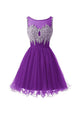 A Line Round Neck Sleeveless Cut Out Homecoming Dresses Mini Cocktail Dresses With Beading - NICEOO