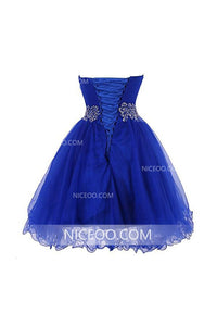 Blue A Line Strapless Mini Homecoming Dresses Organza Cocktail Dresses With Beading