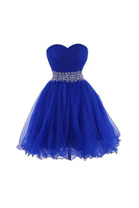Blue A Line Strapless Mini Homecoming Dresses Organza Cocktail Dresses With Beading - NICEOO