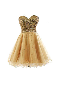 A Line Strapless Knee Length Tulle Homecoming Dresses Cheap Cocktail Dresses - NICEOO