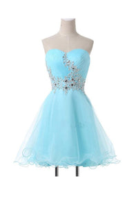 Blue A Line Strapless Tulle Homecoming Dresses Short Cocktail Dresses With Beading