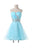 Blue A Line Strapless Tulle Homecoming Dresses Short Cocktail Dresses With Beading - NICEOO