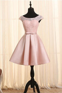 Pink Round Neck Cap Sleeves Satin Homecoming Dresses Affordable Cocktail Dresses