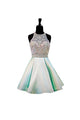 A Line Halter Open Back Homecoming Dresses Cocktail Dresses With Rhinestone - NICEOO