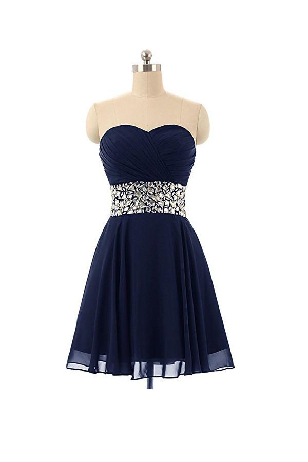 487079188 Navy Blue A Line Strapless Cut Out Homecoming Dresses Cocktail Dresses With  Beading