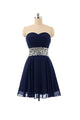 Navy Blue A Line Strapless Cut Out Homecoming Dresses Cocktail Dresses With Beading