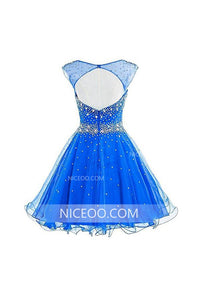 Blue A Line Round Neck Cut Out Satin Homecoming Dresses Mini Cocktail Dresses With Beading - NICEOO