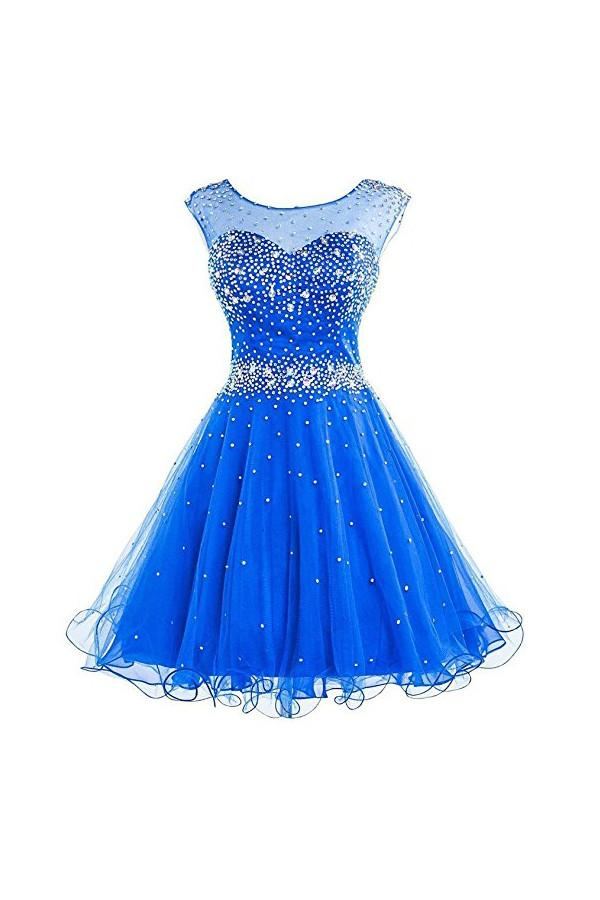 30c1c50c2d60 Blue A Line Round Neck Cut Out Satin Homecoming Dresses Mini Cocktail  Dresses With Beading -