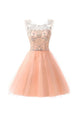 Pink Round Neck Sleeveless Knee Length Homecoming Dresses Cocktail Dresses With Beading - NICEOO