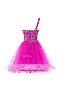 Rose Red One Shoulder Knee Length Homecoming Dresses Cocktail Dresses With Beading - NICEOO